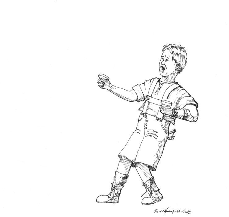 Ung drageflyger, tusj, del1